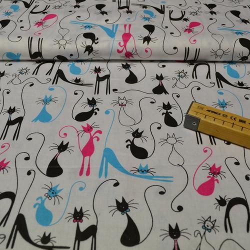 Tissu coton imprimé chats couleur fuchsia/turquoise/noir