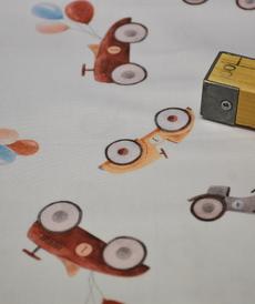 Tissu coton satiné imprimé petits véhicules anciens (1.35€/10cm)