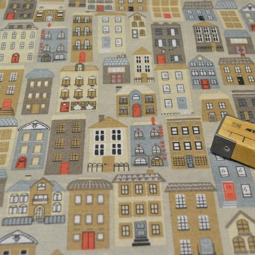 Tissu coton polyester CANVA imprimé petites maisons
