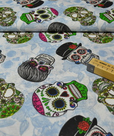 Tissu coton polyester CANVA imprimé têtes de mort