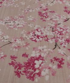 Toile de coton imprimé japonisant rose (1.0€/10cm)
