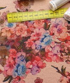 Jersey lurex stretch japonisant vieux rose (1.20€/10cm)