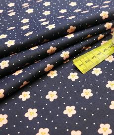 Tissu popeline de coton fleuri marine rose (0.9€/10cm)