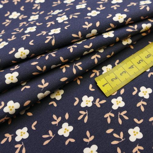 Jersey de coton GOTS rose à petites fleurs romantiques