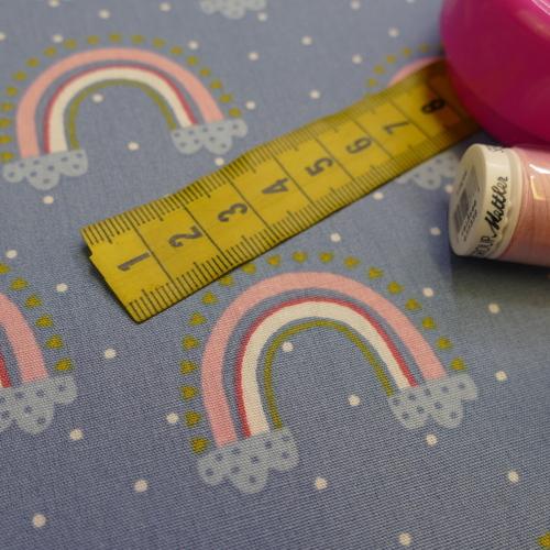 Tissu popeline de coton arc en ciel fond bleu à pois (0.9€/10cm)