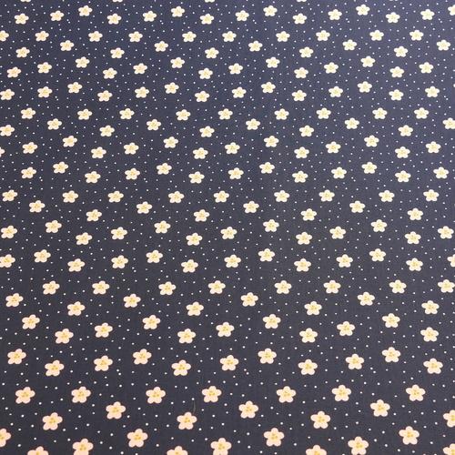 Tissu popeline de coton petites fleurs et points sur fond marine