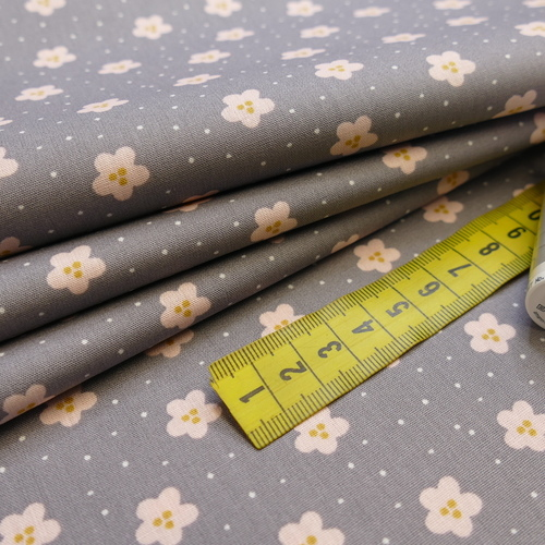 Tissu popeline de coton petites fleurs et points sur fond gris