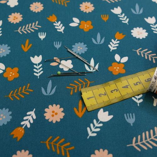 Tissu popeline de coton campagnard fond pétrole (0.9€/10cm)