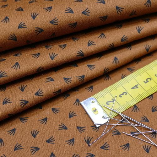 Tissu satin de coton stretch camel à plumeaux (1.45€/10cm)