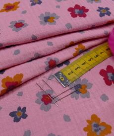 Double gaze de coton vieux rose imprimé petites fleurs (1.20€/10cm)