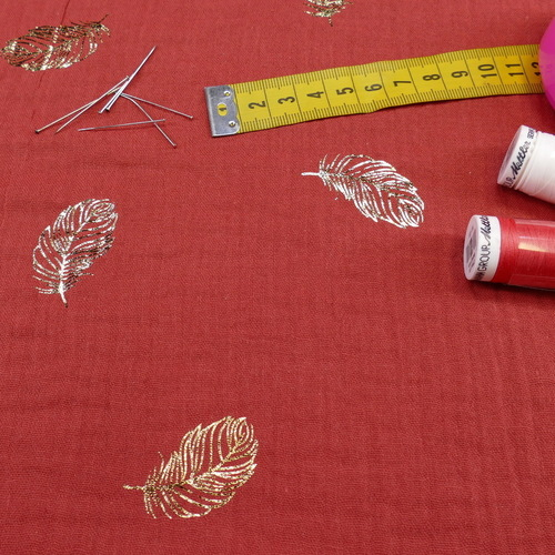 Double gaze de coton brique imprimé feuilles dorées (1.20€/10cm)