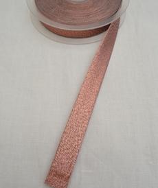 Ruban biais scintillant cuivré 18 mm