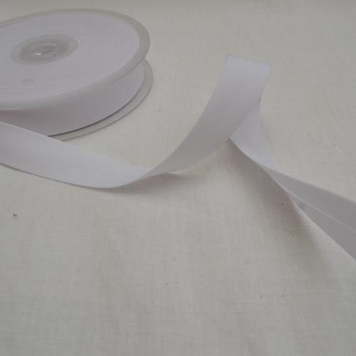 Ruban biais polycoton blanc 20mm
