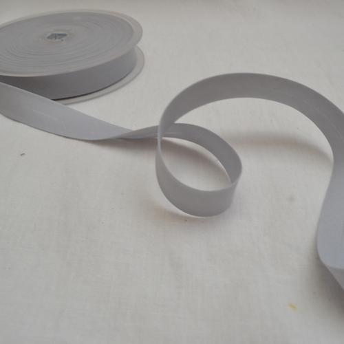 Ruban biais polycoton gris 20mm