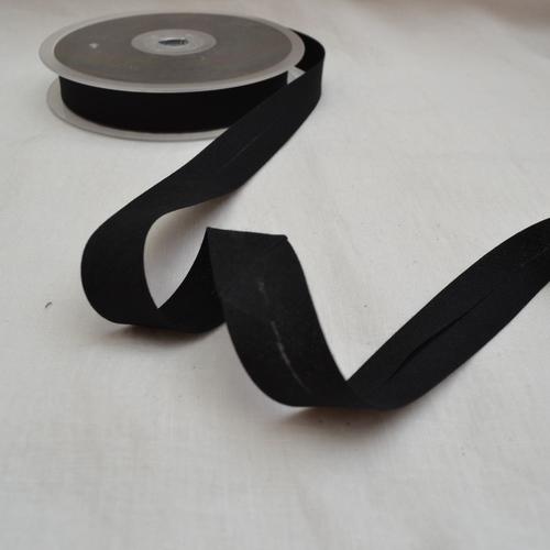 Ruban biais polycoton noir 20mm