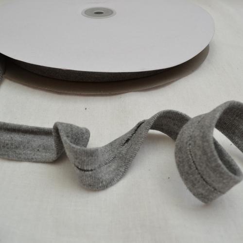 Ruban jersey de coton gris chiné 20mm