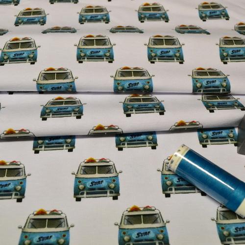 Jersey de coton blanc imprimé VW by Stenzo (10cm/1.6€)