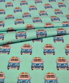 Jersey de coton blanc turquoise imprimé VW (8€/50 cm)