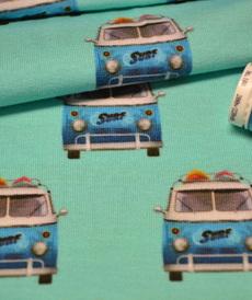 Jersey de coton blanc turquoise imprimé VW by Stenzo (10cm/1.6€)