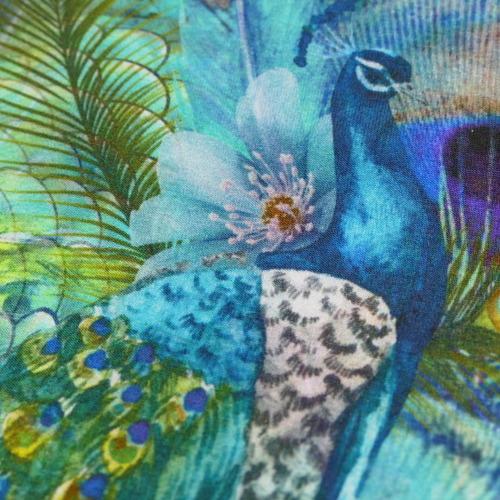 Jersey imprimé paon turquoise (1.6€/10cm)