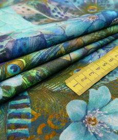 Jersey imprimé paon turquoise