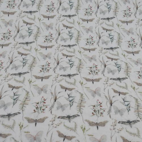 Double gaze de coton  libellules papillons Stenzo (1.1€/10cm)