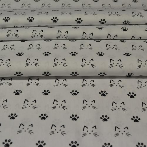 Tissu coton imprimé petits chats sur fond blanc Stenzo