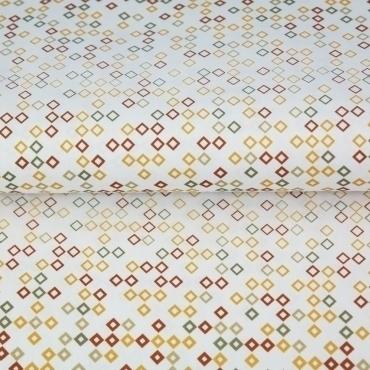 Tissu coton imprimé losanges ocre/brique Stenzo