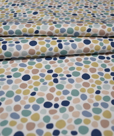 Tissu coton imprimé galets turquoises Stenzo (0.9€/10cm)