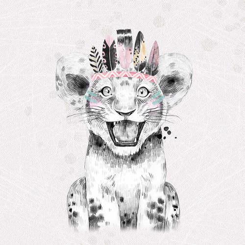 Panneau en jersey sweat tigre rose