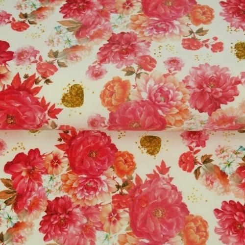Jersey de coton imprimé Digital fleurs roses Stenzo (1.6€/10cm)