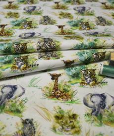 Tissu coton imprimé bébés animaux Stenzo (1.00€/10cm)