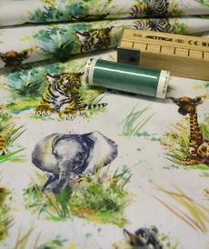 Tissu coton imprimé bébés animaux Stenzo