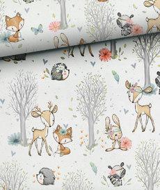 Très beau coton imprimé les animaux de la forêt
