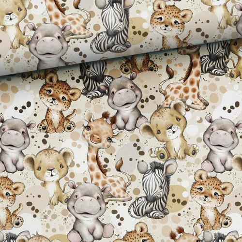 Très beau coton imprimé les animaux de la Savane (1.4€/10cm)