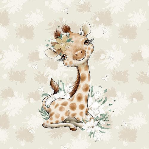 Panneau jersey sweat bouclettes Girafe
