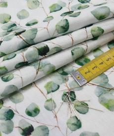 Double gaze de coton feuillage vert GOTS (1.25€/10cm)