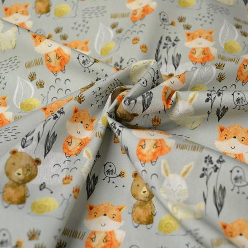 Tissu coton imprimé bébés ours et renards Stenzo (1€/10cm)