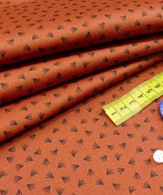 Tissu satin de coton stretch brique à plumeaux (1.45€/10cm)