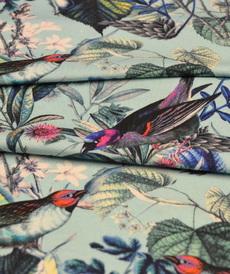 Jersey de coton turquoise imprimé oiseaux (8€/50cm)