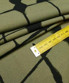 Tissu viscose graphique kaki noir A la Ville by Bittoun (10cm/2.79€)