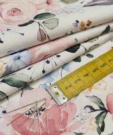 Très beau coton imprimé grandes fleurs romantique (10cm/1.4€)