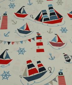 Très beau coton imprimé marin grands bateaux (10cm/1.4€)
