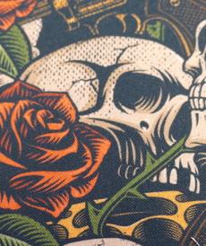Très beau coton imprimé tête de mort Rock & Roll (10cm/1.4€)