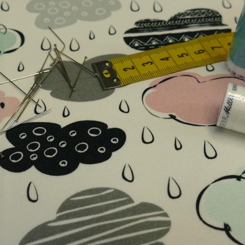 """Jersey sweat bouclettes """"les petits nuages sous la pluie"""" (10cm/1.9€)"""