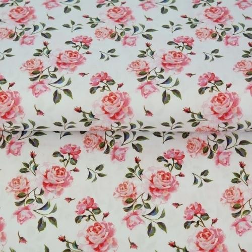 Tissu coton imprimé roses fond blanc Stenzo (0.9€/10cm)