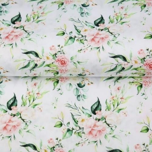 Tissu coton imprimé roses délicates fond blanc Stenzo (0.9€/10cm)
