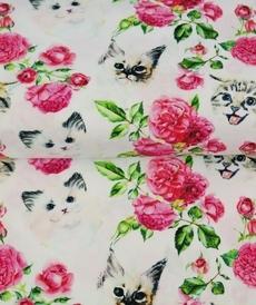 Tissu coton imprimé roses et chats fond blanc Stenzo (0.9€/10cm)