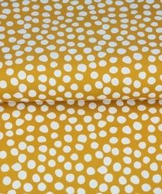 Tissu coton imprimé galets blancs fond ocre Stenzo (0.9€/10cm)