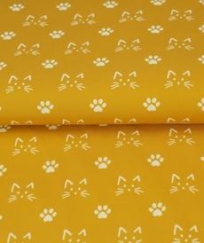 Tissu coton imprimé chats blancs fond ocre Stenzo (0.9€/10cm)